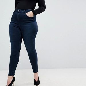 ASOS Curve Button Fly Dark Straight Jeans